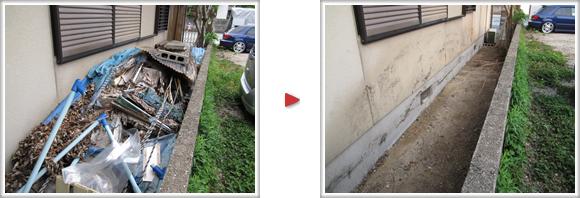 福岡市南区柳瀬の便利屋なんでもお助け隊 福岡春日店 春日市泉のお客様宅の通路が粗大ゴミ、不要品で山盛りに、全て撤去、片付けました。
